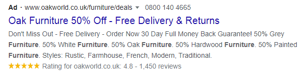 search result advert