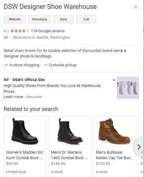 local search eCommerce example