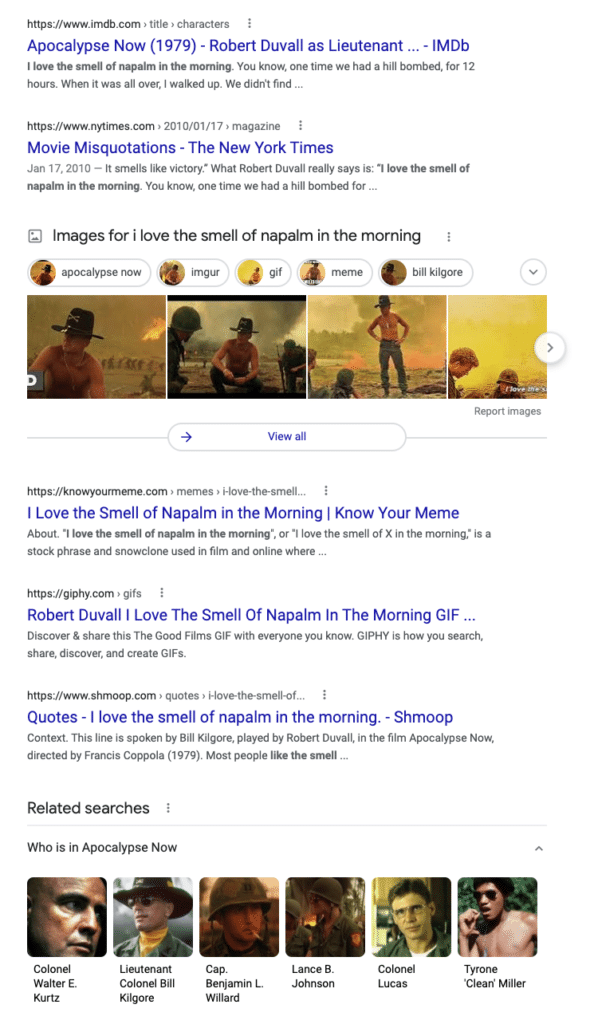 napalm in the morning SERP example 2