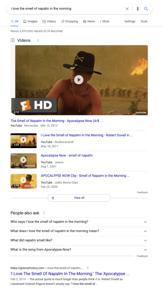 napalm in the morning SERP example 1